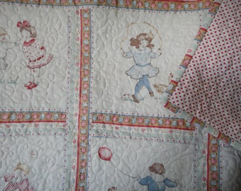 New infant/toddler quilt featuring vintage antique look block print