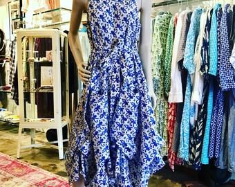 Blue monkey hand block print fabulous one of a kind dress