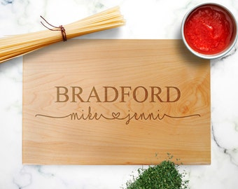 Wedding Gifts for Couples // Personalized Cutting Board Walnut Maple // Custom Wedding Gift Ideas