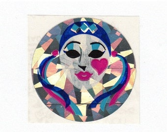 SALE Harlequin Rare Vintage Sandylion Prism Mask Sticker - 80's Prismatic Mime Clown Heart Ribbon Collectible