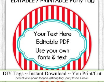 Carnival Party Printable Tag, Instant Download, EDITABLE, 3 INCH Party Tag, DIY Cupcake Topper, Your Fonts, Text, You Print, You Cut