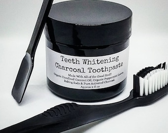 Teeth Whitening Charcoal Toothpaste (Vegan) No Chemicals, No Preservatives & No Fluoride! WARNING! You will taste a HINT of Baking Soda!