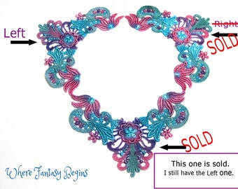 One Piece Hand Dyed Venise Lace Collar Applique Victorian Embellishment,Crazy Quilts, Clothes,Pillows,Hand Bags,Scrap-booking,Sewing, VLA115
