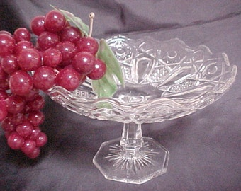 Antique McKee Quintec Compote, Circa 1910 Crystal Glass, Vintage Footed Serving Bowl, EAPG Early American Pressed Pattern Glassware