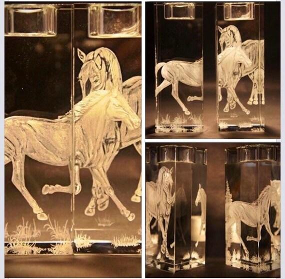 Hand Engraved crystal Candleholder, Horses, home decor, etched, handengraved, candlesticks,office decor, crystal gift, housewarming