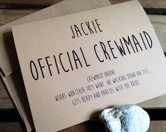 Official Crewmaid - Personalize - Notecard - Parties with the Bride - Recycled - Eco Friendly
