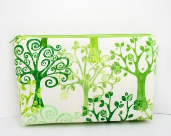 Make Up Cosmetic Zipper Pouch, Curly Trees in Green