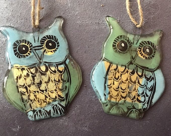 Fused Glass Hanging Owls