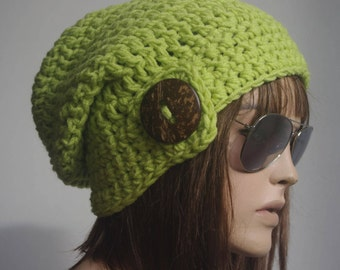 womens hat Winter Hat Knit Hat Winter hat Slouchy Hat winter Accessories Woman hat NEON GREEN crochet hat Gift for her children hat teen hat