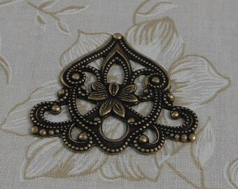LuxeOrnaments Oxidized Brass Filigree Floral Focal Connector 40x35mm (1 pc) S-8202-B