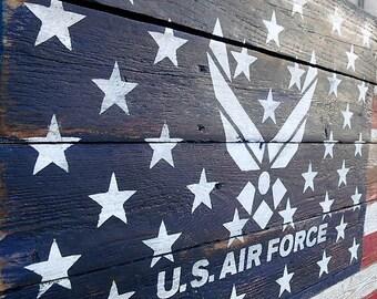 American Flag, Air Force, Air Force Flag, Wood American Flag, Wood Air force Flag, United States Air Force