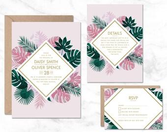 Tropical Wedding Invitation, Hawaii Wedding Invite, Destination Wedding Invitation, Wedding Invitation Template, Wedding Printable, Summer