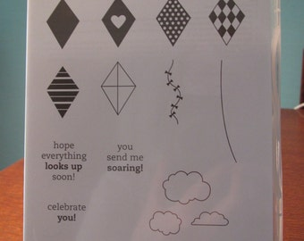 Used Like New! You Send Me Soaring Stampin' Up! retired rubber stamp set (12 stamps)
