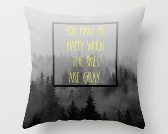 Throw Pillow Case, Landscape, gray, fog, PNW, Treescape, Trees, Home Decor, Photography by RDelean Designs