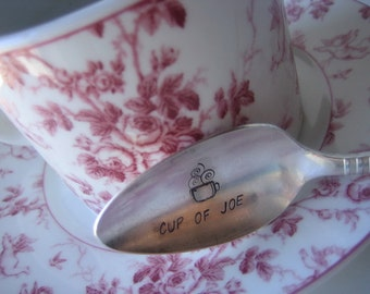 Cup of Joe with steaming coffee cup stamp -  Upcycled Silverplate Hand Stamped Teaspoon