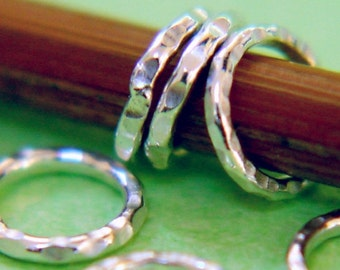 Handmade Sterling Ring Stitch Markers, Set of 6, US5