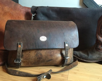 Rare Swiss Army Vintage Leather Messenger Bag - 1945 Saddlebag WWII