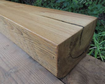 """Reclaimed Wood Fireplace Mantel 61"""" x 8"""" x 6"""" - Reclaimed  Ash Mantel - Rustic  Ash Mantle - Old Growth Antique Mantel - Fast Shipping"""