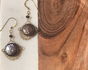 Brown fresh water pearl disc earrings with layers of goldfilled chain cascading below