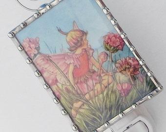 Unique Fairy Night Light, Nursery Rhyme Night Light - Pink Flowers - Nursery Lighting - Girl Stained Glass Nightlight - Baby Shower Gift N96