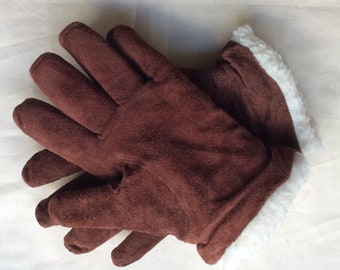 Vintage brown suede gloves, Brown suede leather fleecy lined, Medium 7.5,Croque gloves.
