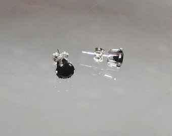 Black Onyx Earrings Black Studs Onyx Studs Faceted Studs Sterling Silver or 14Kt Gold Filled