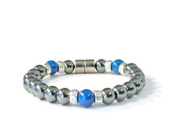 Black Magnetic Arthritis Bracelet w/ Blue Riverstone Beads, Hematite Jewelry