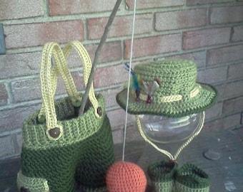 Daddy's Lil' Fisherman Photo Prop set- MADE to ORDER- newborn size, fishing, props
