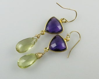 Amethyst and Lemon Quartz Dangle Earrings - Gold Fill, Gemstone Beads - Ready to Ship