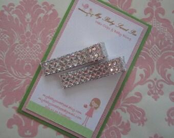 Girl hair clip set - girl barrettes - holiday hair clips - swarovski hair clips - dressy hair clips