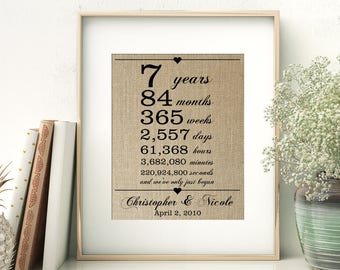 7 Years Together | Years Months Weeks Days Hours Minutes Seconds | Personalized Burlap Print | 7th Wedding Anniversary Gift for Wife Husband