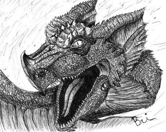 Dragon Sketch Portrait Print
