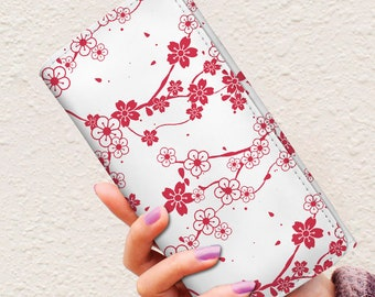 Womens Wallet Vegan Wallet Minimalist Wallet Cherry Blossom Ladies Wallet Wallet Women, Floral Wallet, Travel Wallet Long Wallet Slim Wallet