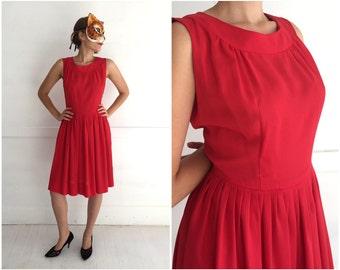 Simple Vintage 60's Sleeveless Red Sheath Dress with Full Skirt | Medium