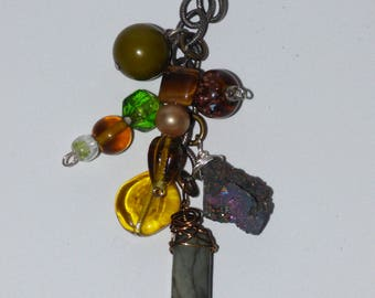 Boho Multi- Cluster Dangle Beaded Pendant- Greens and Browns