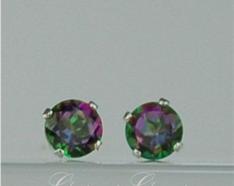 Memorial Day Sale Rainbow Topaz Stud Earrings Sterling Silver 4mm Round .55ctw