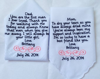 Set of two personalized handkerchiefs mother of the bride and father of the bride gift