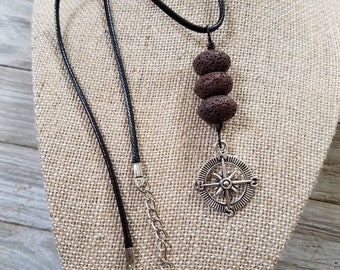 Rose Compass Charm, Essential oils diffuser, EO Necklace, Personal Diffuser Jewelry, Lava stones, Aromatherapy Jewelry.