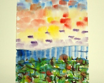 "FREE SHIPPING Watercolor Original. Original painting.  9.7"" x 6.3""   (24x16 cm)"