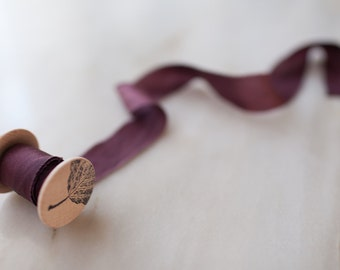 """Merlot, deep red silk ribbon, 1"""" wide, handmade, hand dyed, bridal bouquet, invitations naturally-dyed, wedding favours, photography styling"""