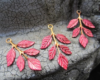 Red Leaves On Stem Hand Colored Brass 3 Pcs.