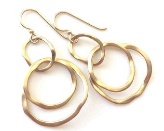 Gold Link Earrings, Modern Gold Earrings, Dangle Earrings
