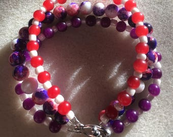 Watercolor Red, Purple and White Beaded Bracelet