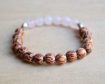 Rose Quartz Bracelet / yoga gift for mom, meditation bracelets, anxiety relief gift, spiritual mom gift, self care, good vibes only, group 7
