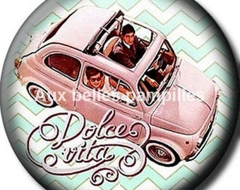 Round cabochon resin 25 mm - paste dolce vita (1519) - text, Word, car, vintage, retro