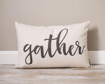 Gather Pillow | Rustic Fall Pillow | Throw Pillow | Rustic Decor | Home Decor | Farmhouse Decor | Personalized Pillow | Rustic Fall Decor