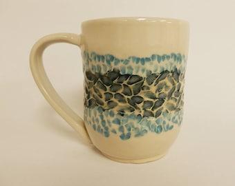 Large Blue Hand Carved Ceramic Mug / Teacup / Coffee Cup