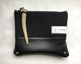 Wool/Leather Pouch - Fine Wool, Leather (All Black)