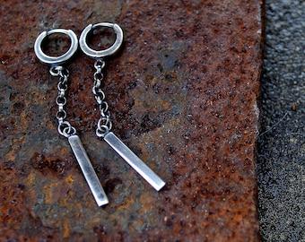 Sterling Silver Earrings, Oxidized Sterling Silver, Long Dangle Earrings, Silver Chain, Raw Sterling Silver, Modern & Simple Earrings