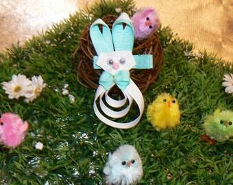 Mr. Blue Easter Bunny hair clip